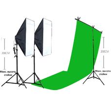 Strobolight Youtuber_Double_CHROM - Видео свет софтбоксы с лампами, стойками, фоном хромакей и держателем